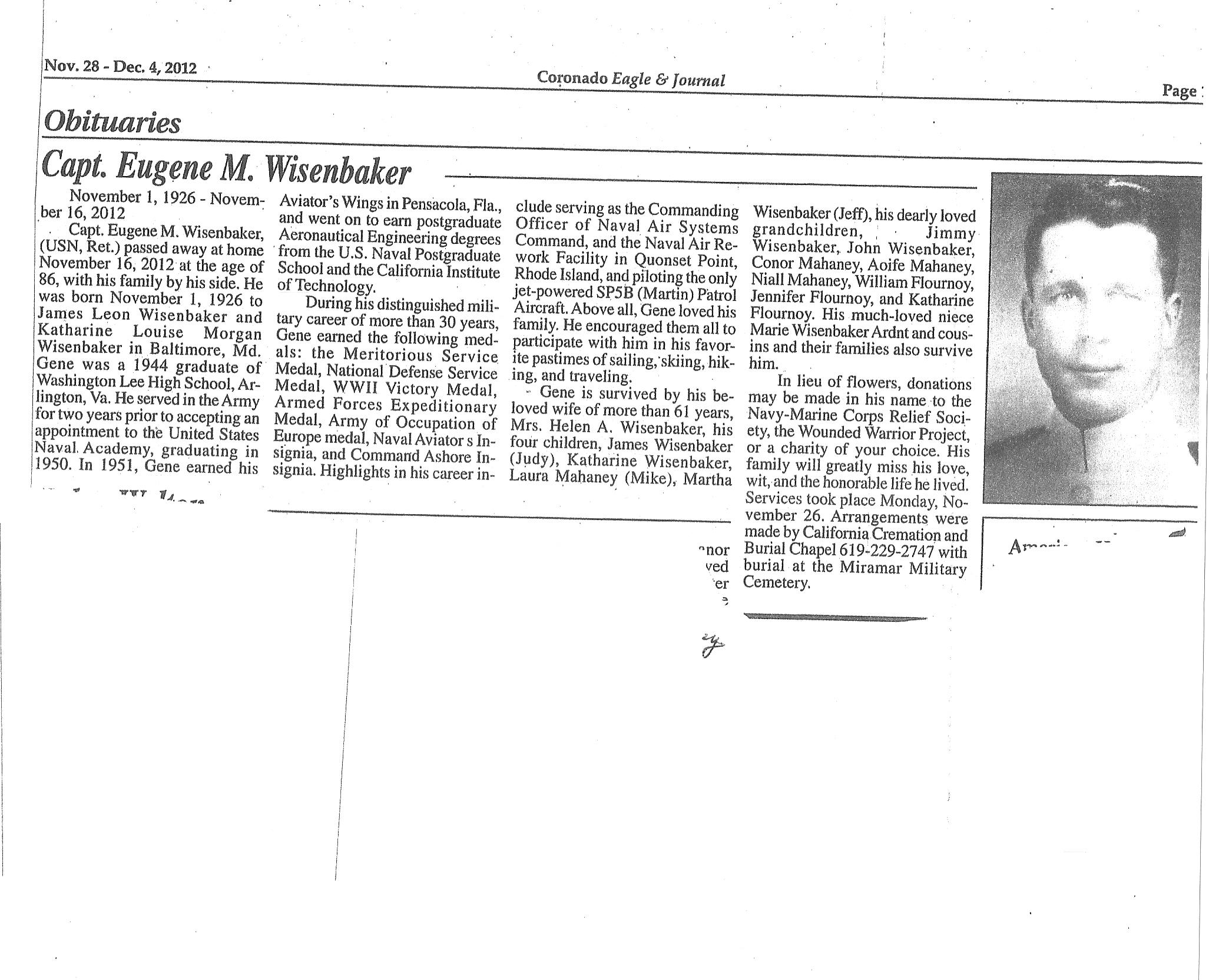 Obituary For Captain Eugene Wisenbaker