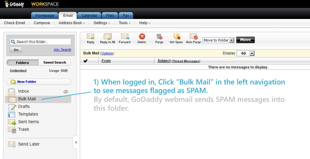 GoDaddy Webmail Spam Settings: A Graphic Tutorial