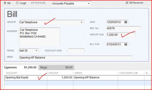 ap opening balance equity invoice