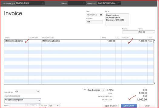 ar opening balance equity invoice