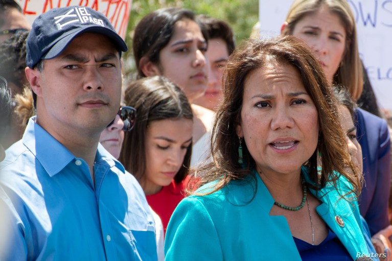 U.S. Representative Veronica Escobar from El Paso speaks to the news media along with Rep. Joaquin Castro and Rep. Alexandria Ocasio-Cortez after they toured two Border patrol stations following reports of migrants kept in inadequate conditions, in Clint, Texas, July 1, 2019.