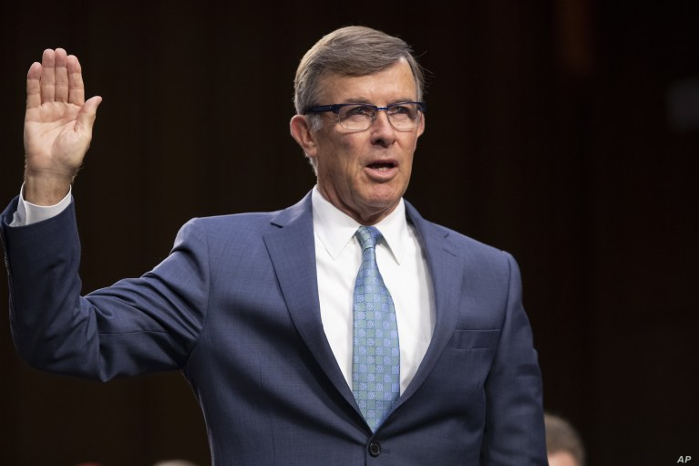 FILE - Retired Vice Adm. Joseph Maguire appears at a hearing on Capitol Hill in Washington, July 25, 2018. President Donald Trump has named Maguire acting national intelligence director.