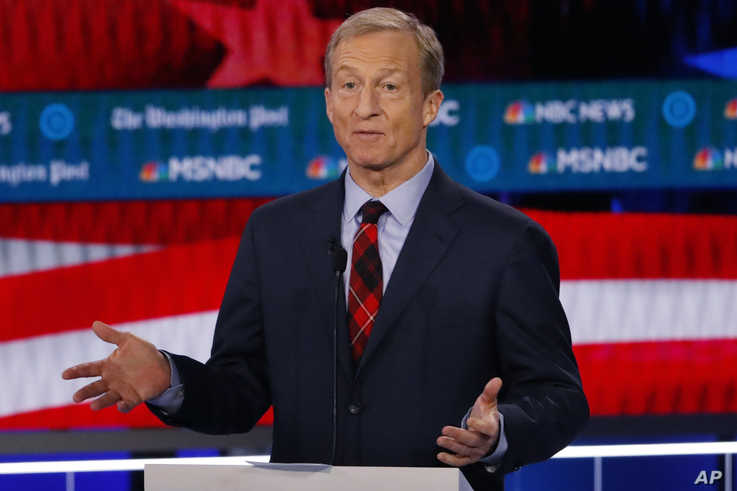 FILE - Democratic presidential candidate and investor Tom Steyer speaks during a Democratic primary debate in Atlanta, Georgia, Nov. 20, 2019.