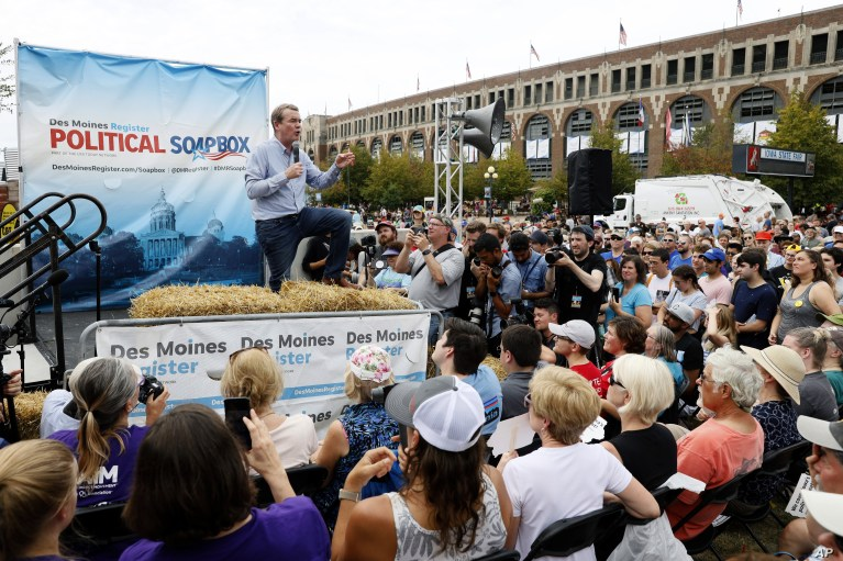 Democratic presidential candidate Sen. Michael Bennet speaks at the Des Moines Register Soapbox during a visit to the Iowa State Fair, Aug. 11, 2019, in Des Moines, Iowa.