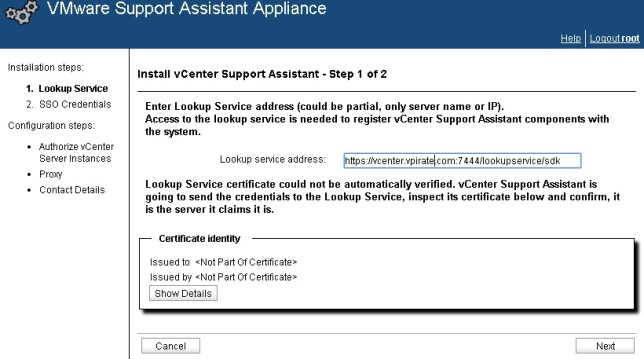 vcenter support assistant 5.5 - 19