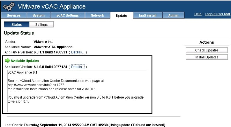 vCAC 6.0.1 to 6.1 upgrade 05