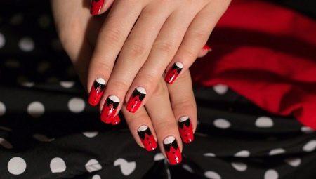 дизайн ногтей красный с черным 3