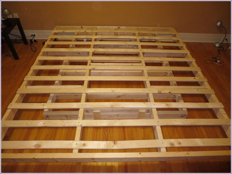 Bed Frame Made From Pallets With Lights
