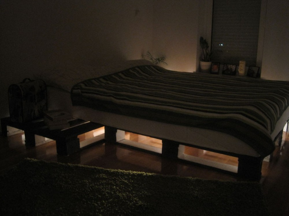 Bed Frame Made Out Of Pallets With Lights