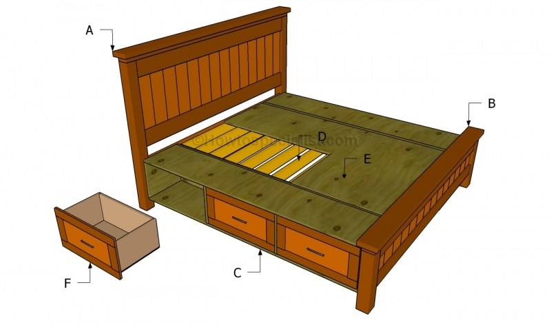 Bed Frame Plans With Drawers Free