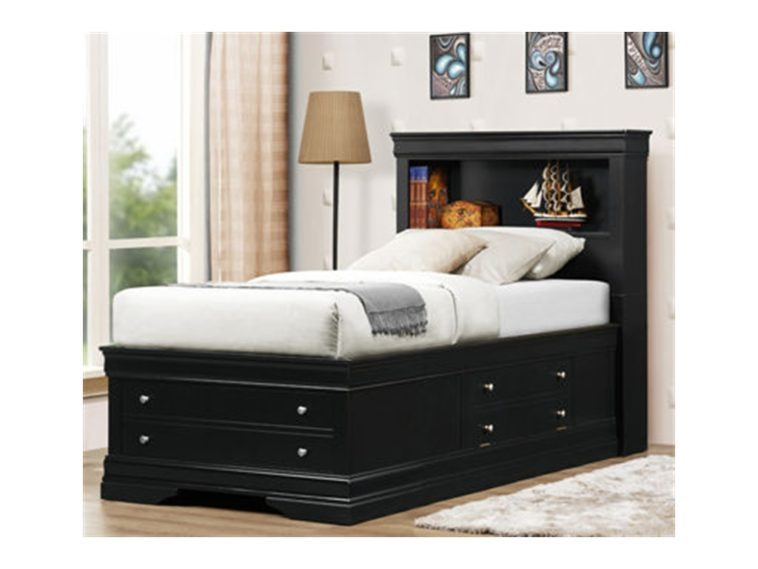 Black Full Size Bed Frame With Drawers