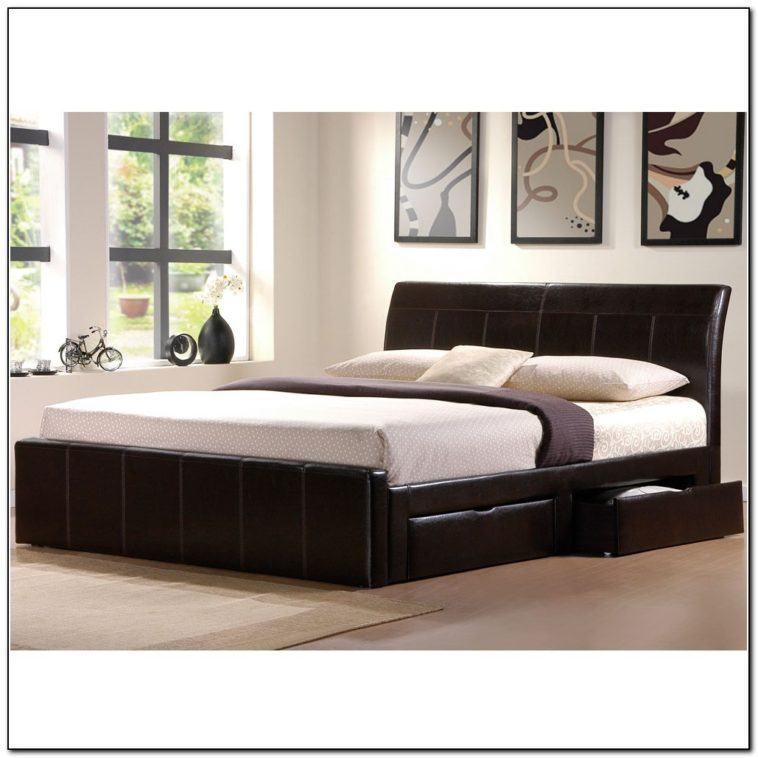 Black King Bed Frame With Drawers