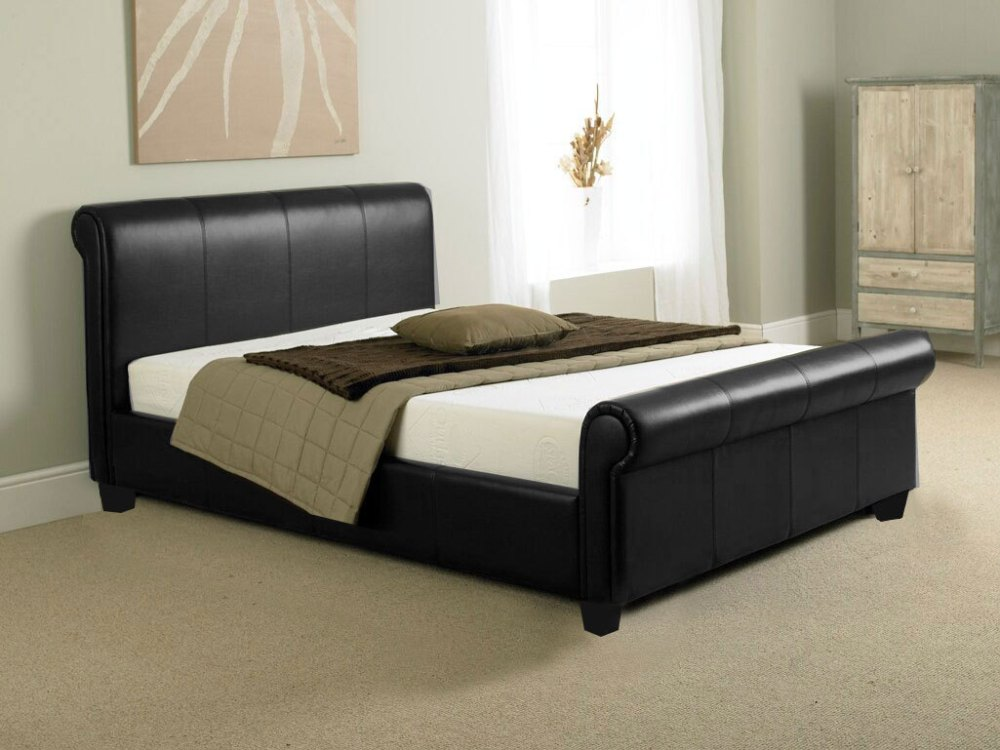 Black King Size Sleigh Bed Frame