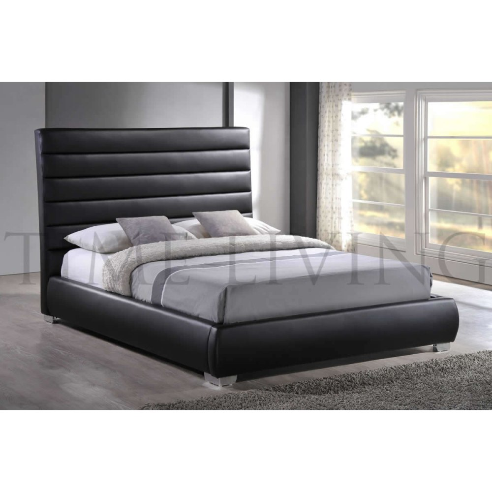 Black Leather Bed Frame Ebay