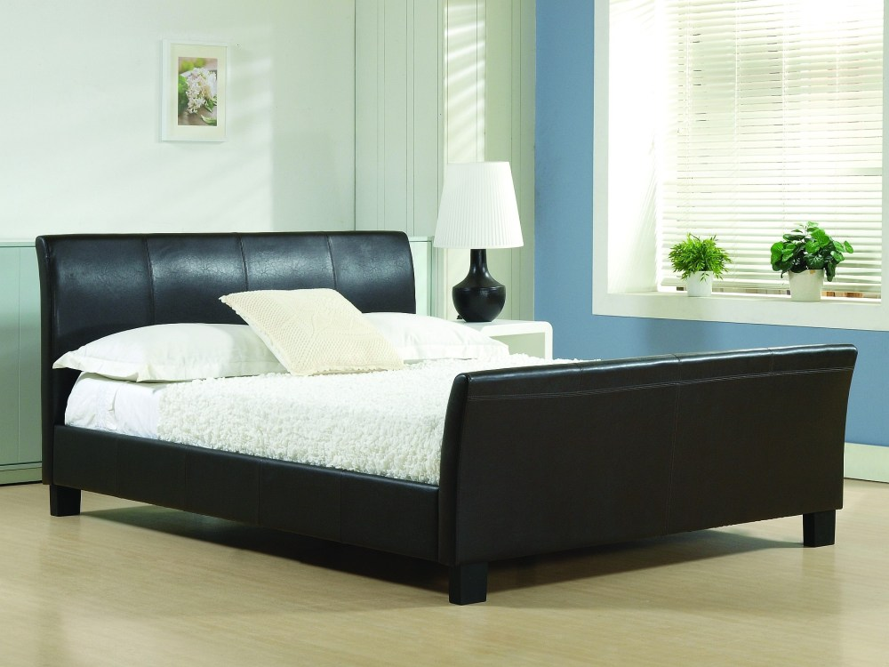 Black Leather Bed Frame Full