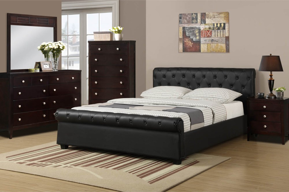 Black Leather Bed Frame Queen