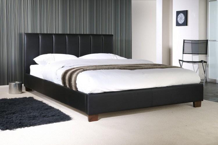 Black Leather Bed Frame Single