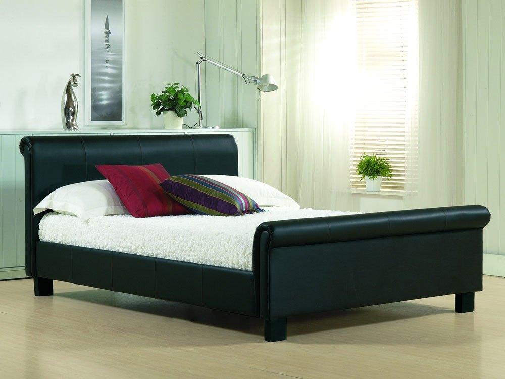 Black Leather Full Bed Frame