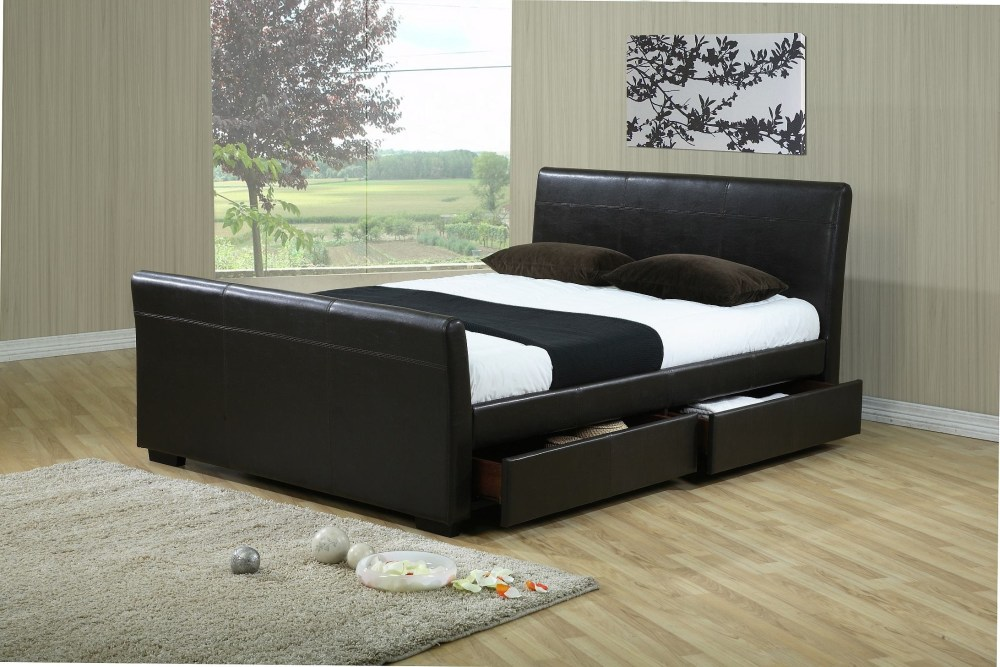 Black Leather King Size Bed Frame