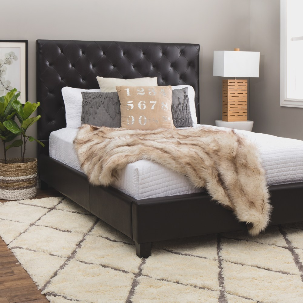 Black Leather Tufted Bed Frame