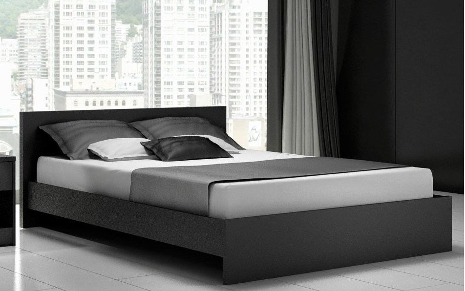 Black Queen Size Platform Bed Frame
