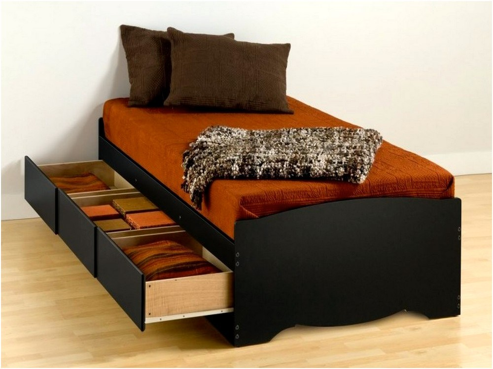 Black Twin Bed Frame With Drawers
