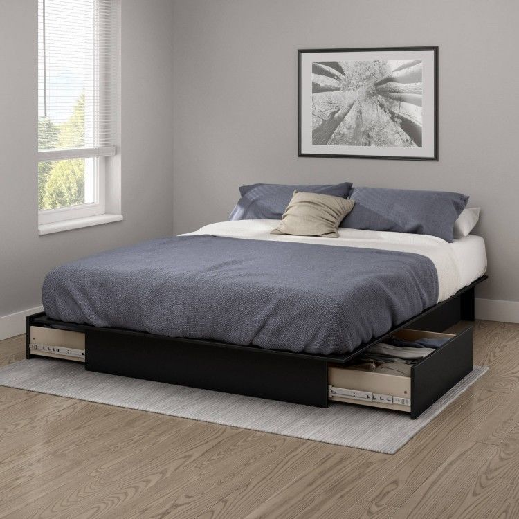 Black Wood Full Bed Frame