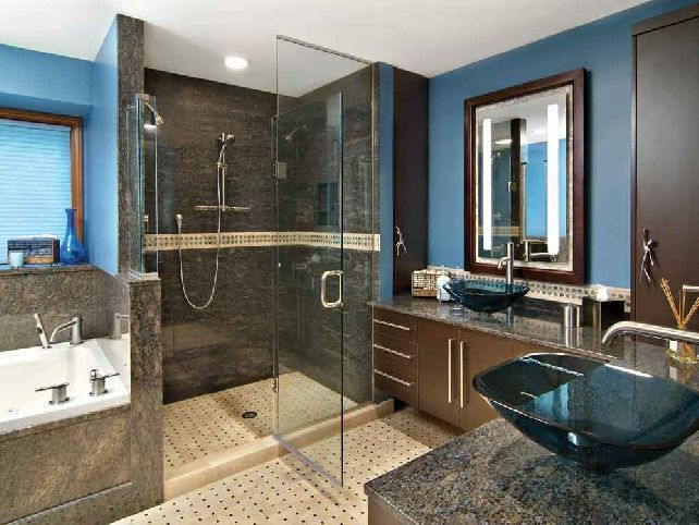 Blue Brown Bathroom Ideas