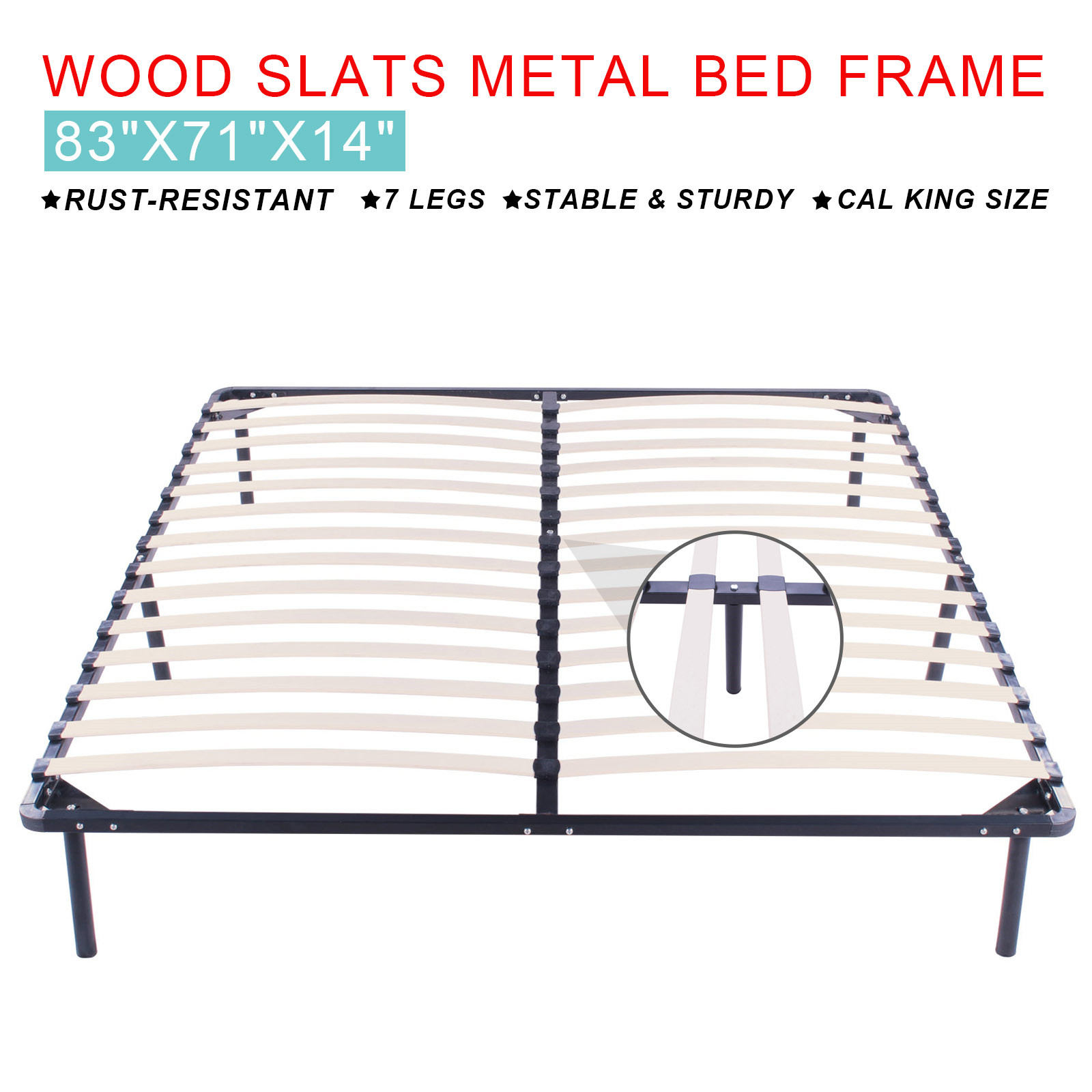 Cal King Wood Platform Bed Frame