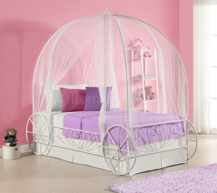 Cinderella Twin Carriage Canopy Bed Frame