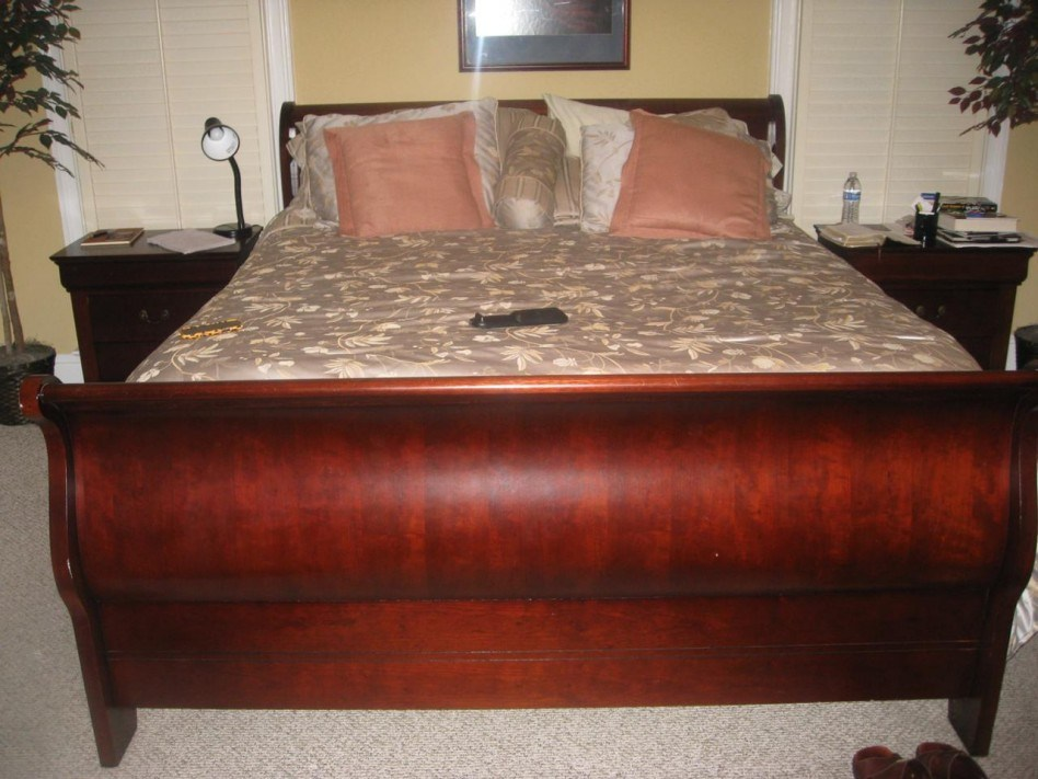 Dark Cherry Wood Bed Frame