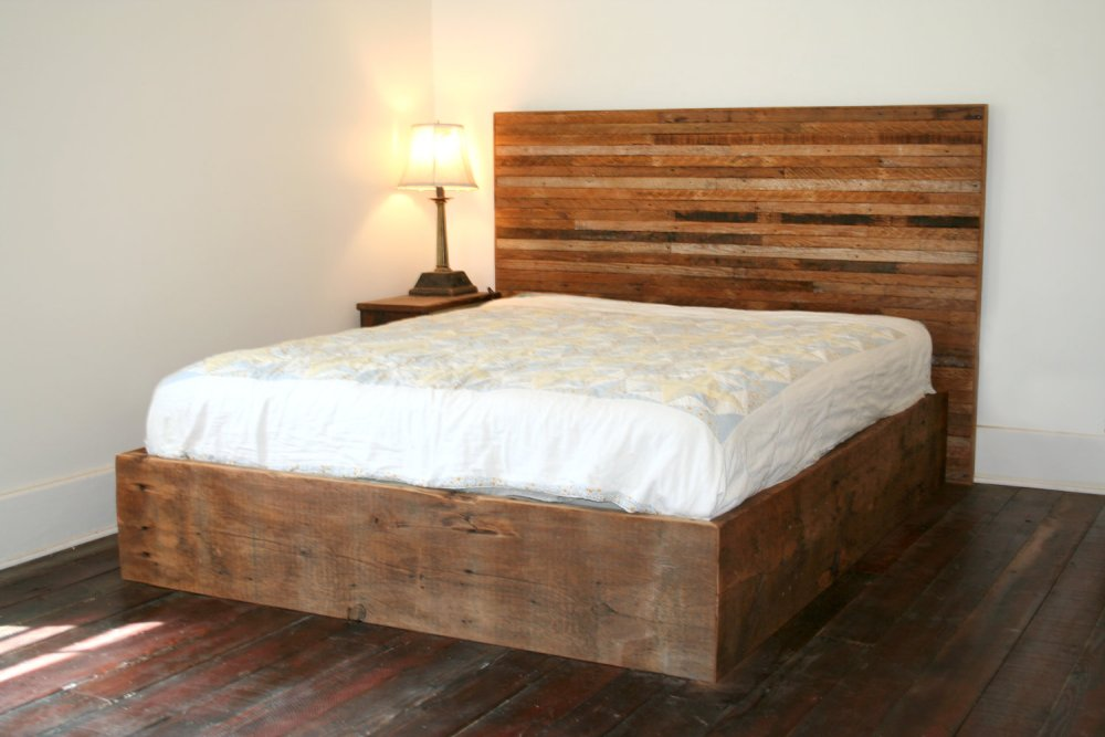 Distressed Wood Bed Frame