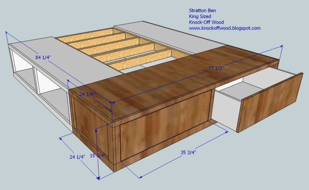 Diy King Bed Frame With Storage Plans