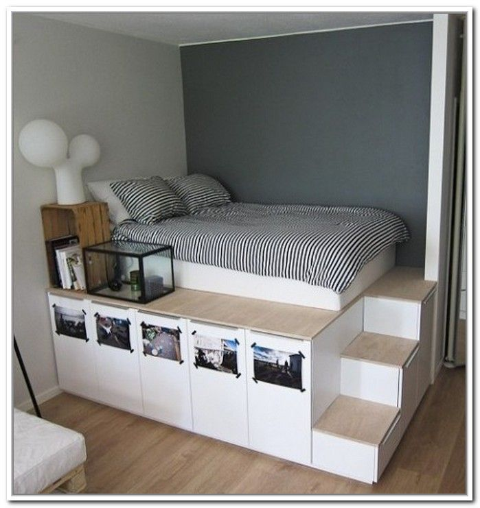 Elevated Bed Frame With Storage