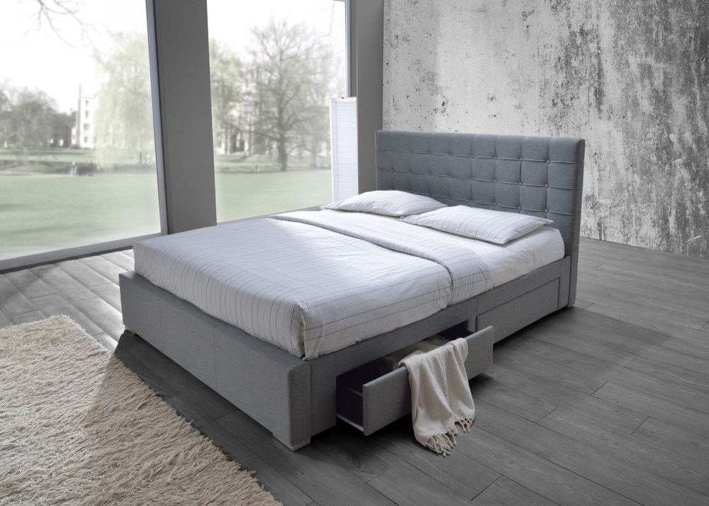 Fabric Bed Frame With Drawers