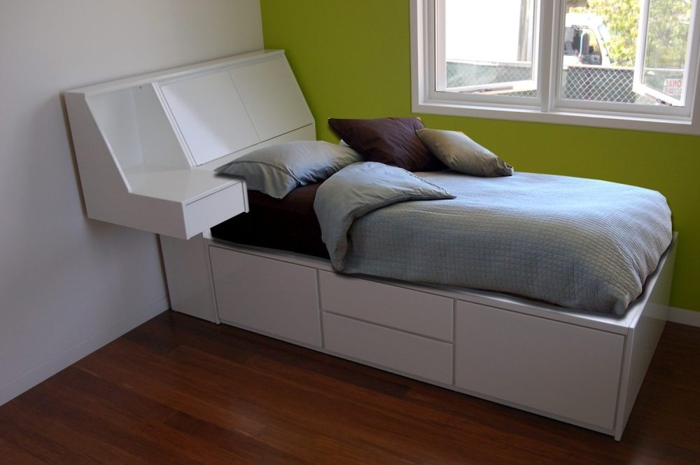 Floating Bed Frame With Storage