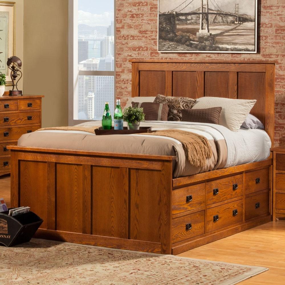 Full Bed Frame With Shelves
