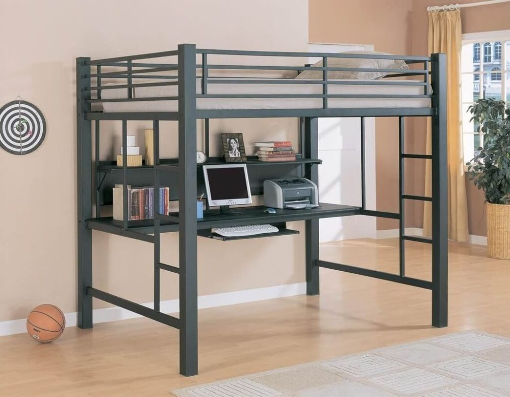 Full Loft Bed Frame With Desk