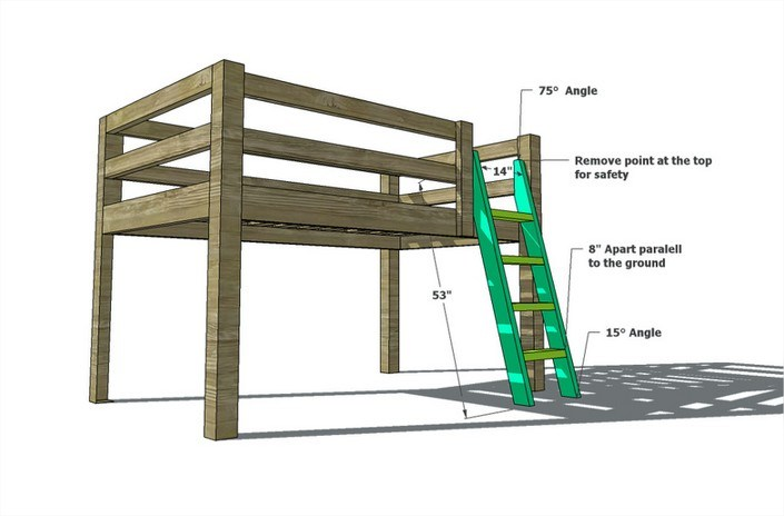 Full Loft Bed Frame
