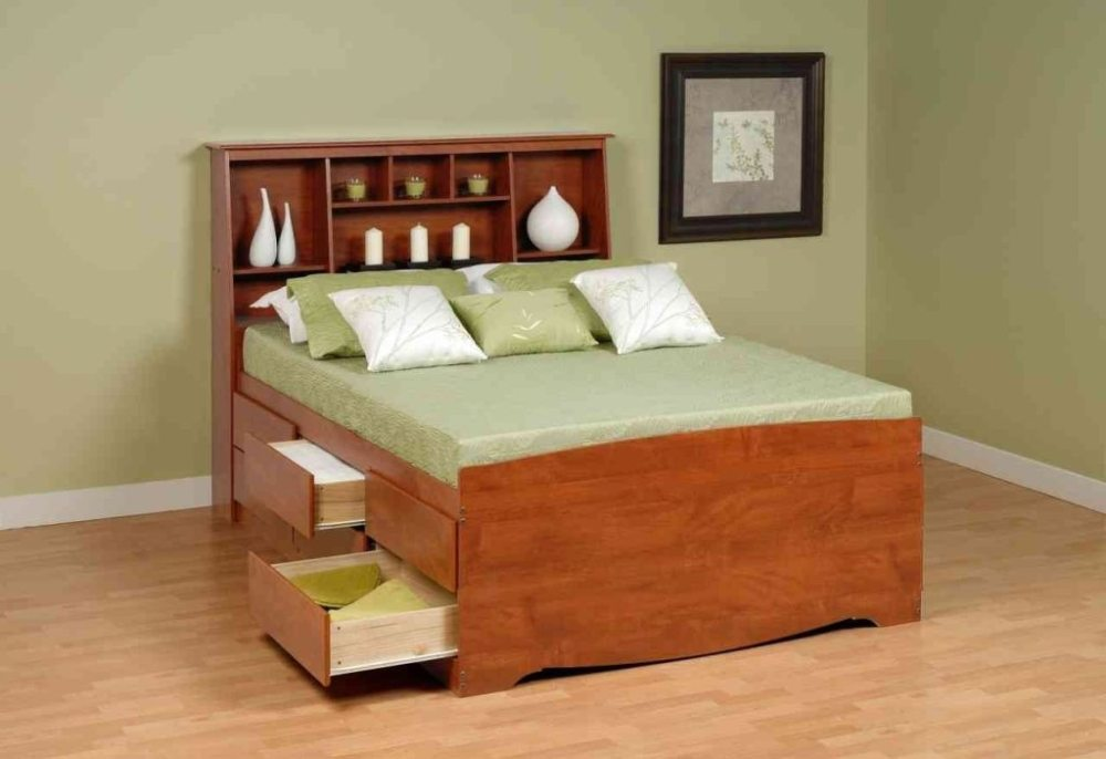 Full Size Bed Frame With Drawers And Headboard