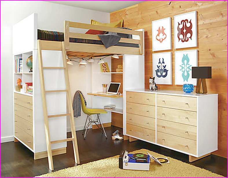Full Size Loft Bed Frame With Desk