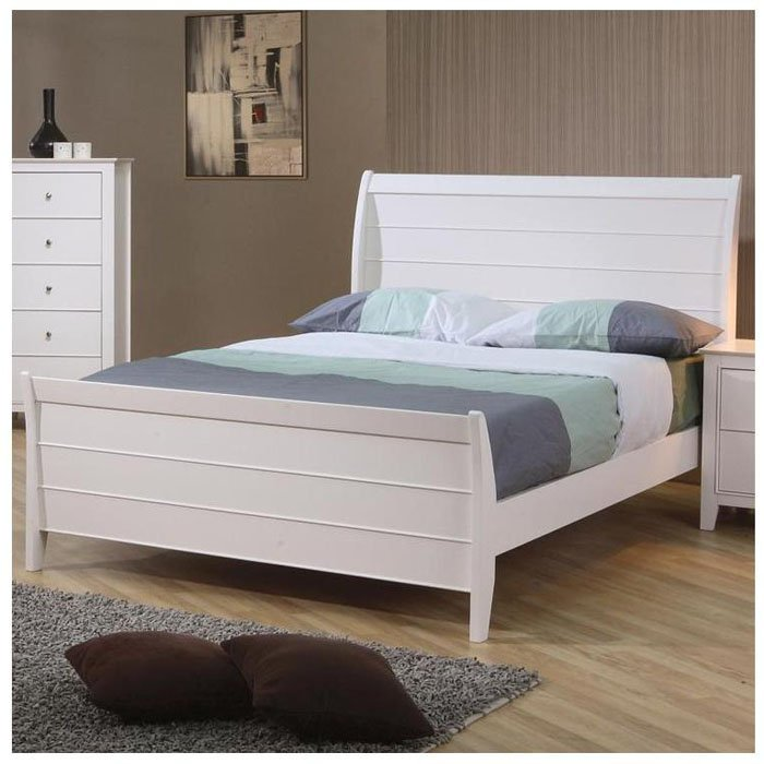 Full Size White Bed Frame With Drawers