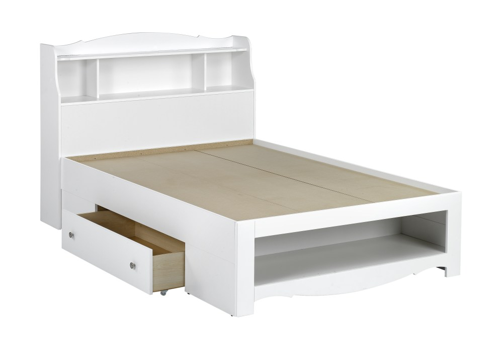 Full Size White Bed Frame With Storage