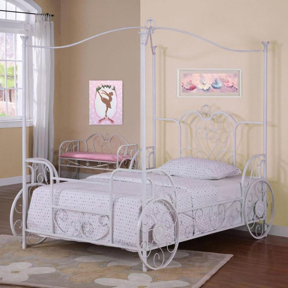 Full Size White Canopy Bed Frame
