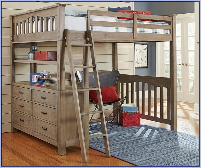 Full Size Wood Loft Bed Frame