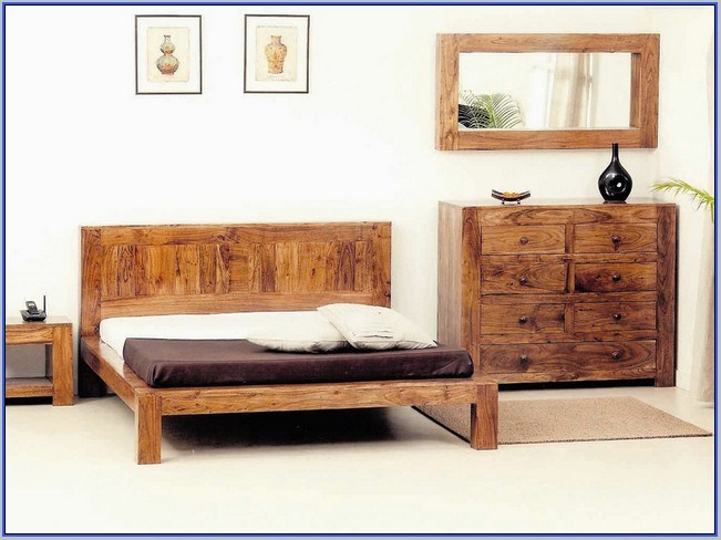 Full Size Wooden Bed Frame With Headboard