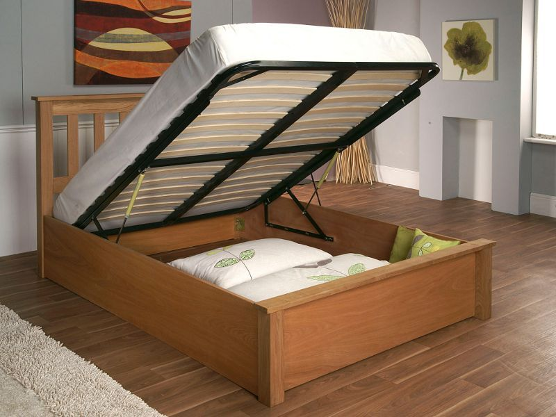 Full Size Wooden Bed Frame With Storage