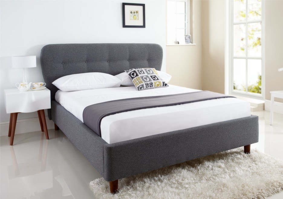 Gray Fabric Bed Frame