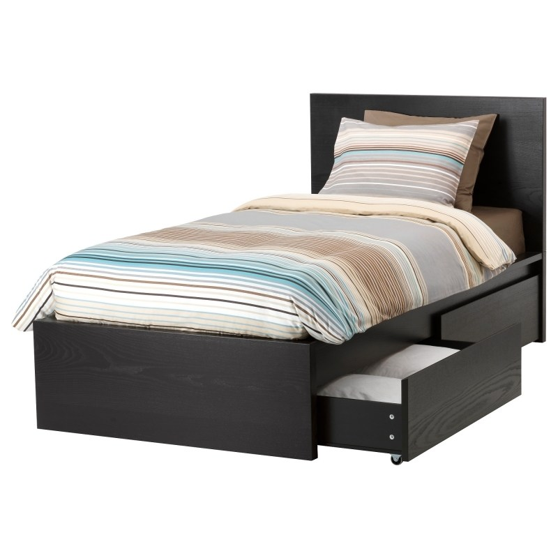Grey Bed Frame With Storage