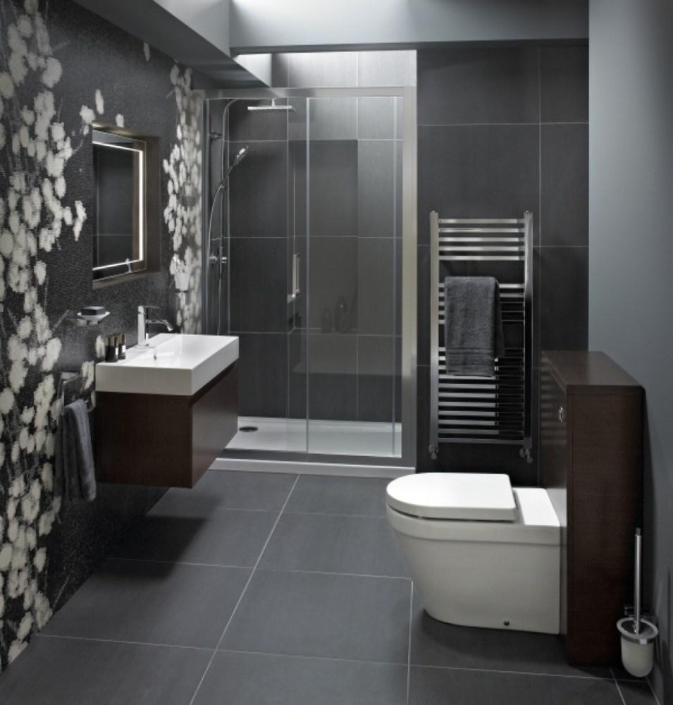 Grey Tile Small Bathroom